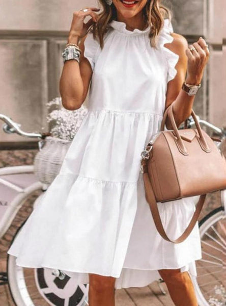White Color Lotus Leaf Sleeve Jumpsuit Midi Dress