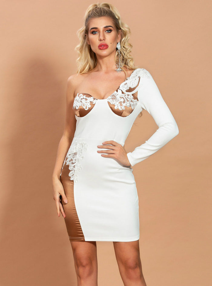 White Sheath Patched Lace One Shoulder Short Dress