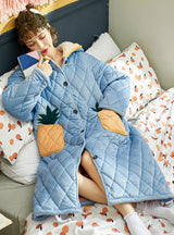 Three-layer Thickened Warm Coral Fleece Pajamas Pineapple