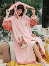 Lovely Cartoon Rabbit Long Nightgown Flannel