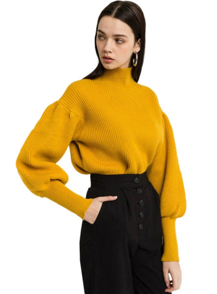 Solid Puff Long Sleeve Stand Neck Sweet Pullovers