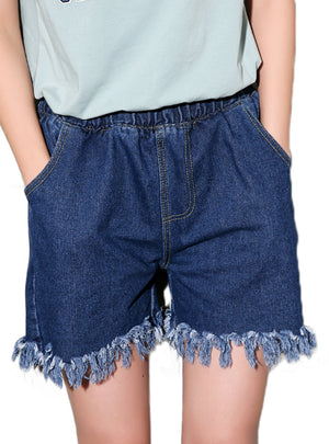 Short Tassels Ladies Casual Elastic High Waist