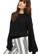 Women Casual O-neck Solid Black Lady Pullovers