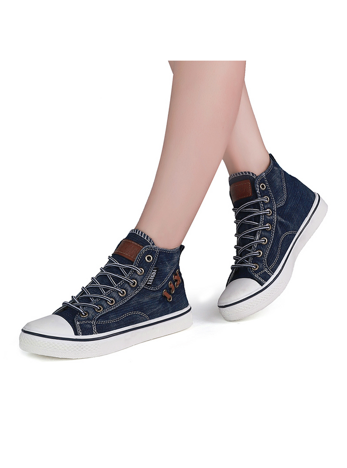 High Top Canvas Sneakers Shoes Denim Ankle