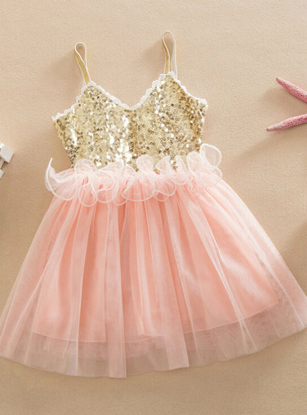 Tulle Ball Sleeveless Dresses Sequins Princess Children