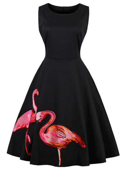 Black Embroidery Flamingo Print Vintage Dress