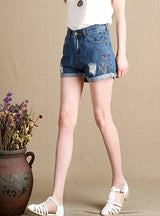 Loose Ripped Denim Shorts Embroidery Hot Pants