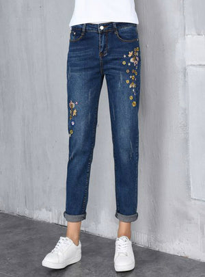 High Waist Plus Size Embroidery Harem Jeans