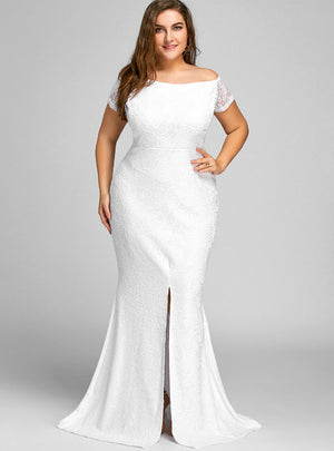 Off The Shoulder Lace Slit Plus Size Dress Sexy Women