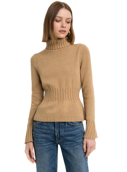 Sweet Sweaters Elastic Waist High Collar Flare Sleeve