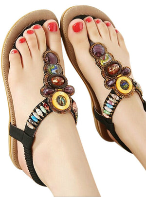 Bohemian Sandals Gemstone Beaded Slippers Beach