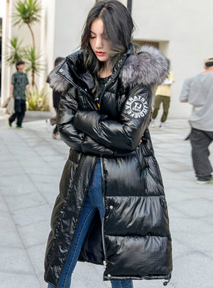 Women Winter Down Jacket Chic Big Fur Warm