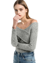 Sexy Backless Knitted Tops Women Long Sleeve