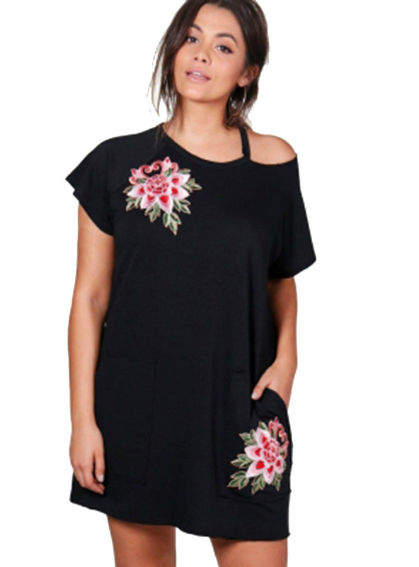 Short Sleeve Flower Embroidery Dress Above Knee