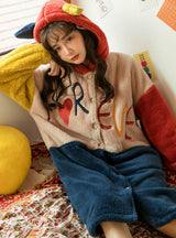 Letter Thickened Coral Fleece Robe Long Nightwear