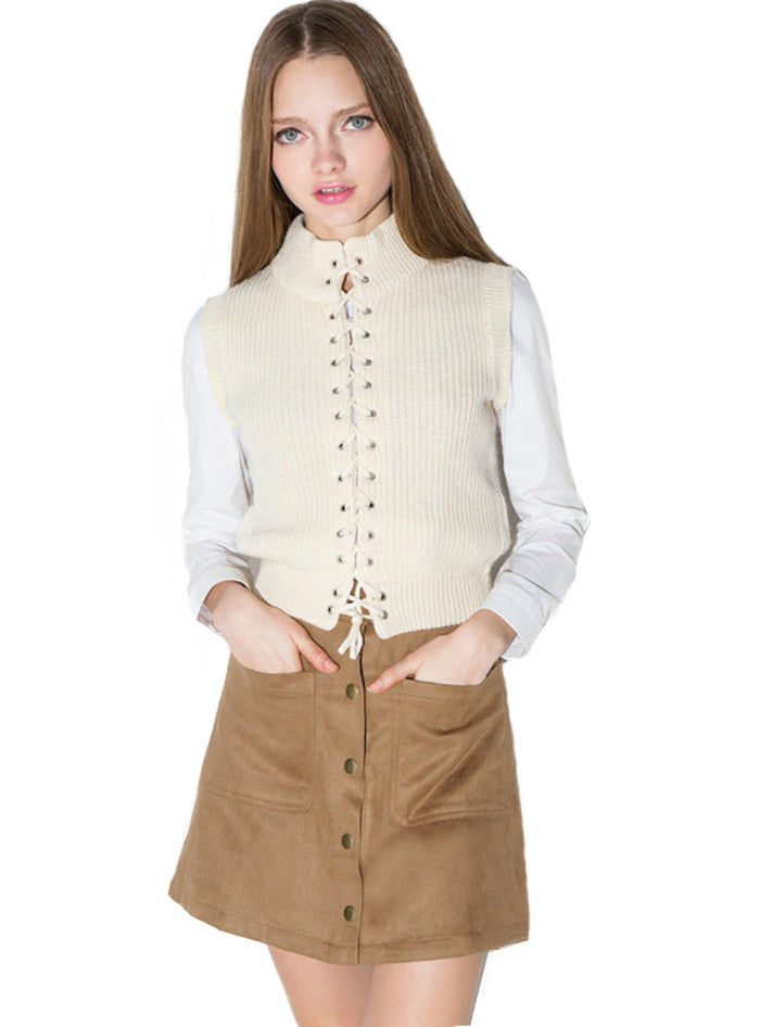 High Waist Skirt A-line Button Mini Women Skirt