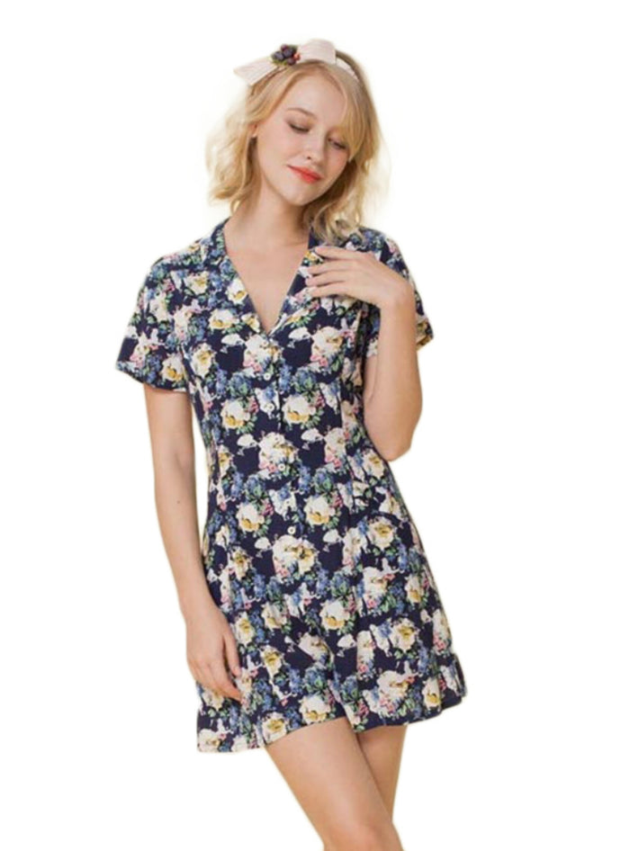 Floral Print Women Play Suits V-neck Single Breast