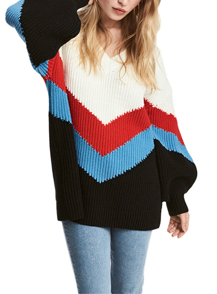 Striped Knit Patchwork Lantern Sleeves Sweater