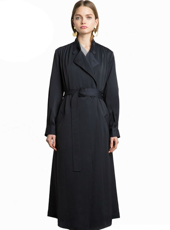 Long Trench Coat Turn-down Collar Belted Casual