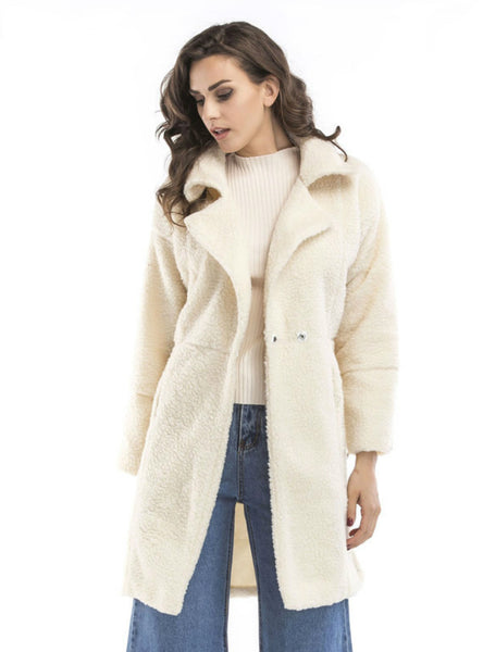 Plush Long Sleeve Medium And Long Coat Jacket