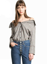 Off Shoulder Buttons Female Blouses Lady Tops