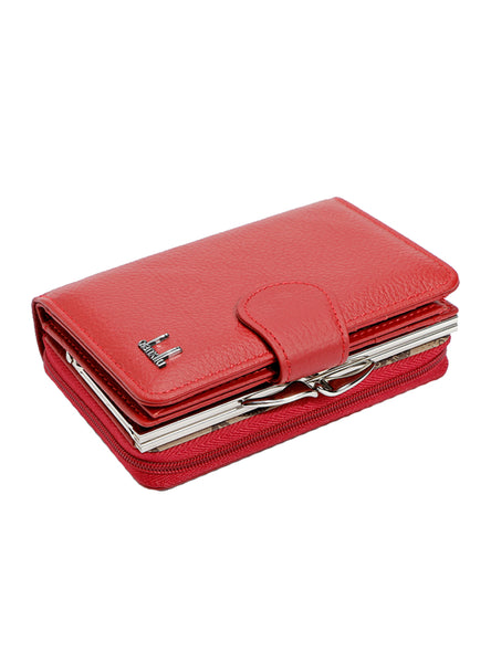 Women Wallets Cowhide Leather Zipper Hasp Coin Purses