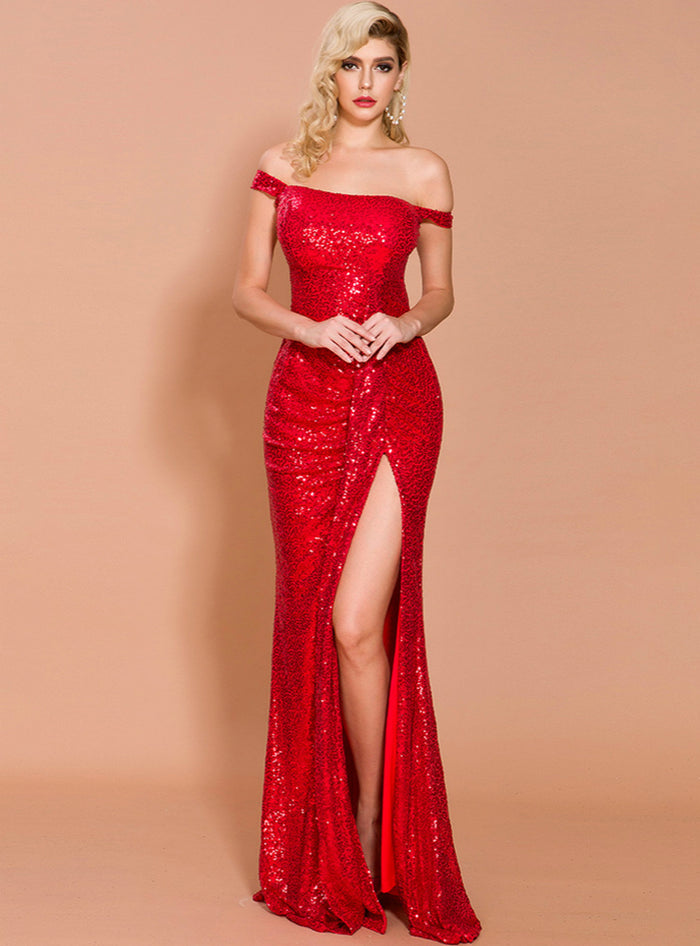 Off-the-shoulder Sequined Banquet Evening Dress