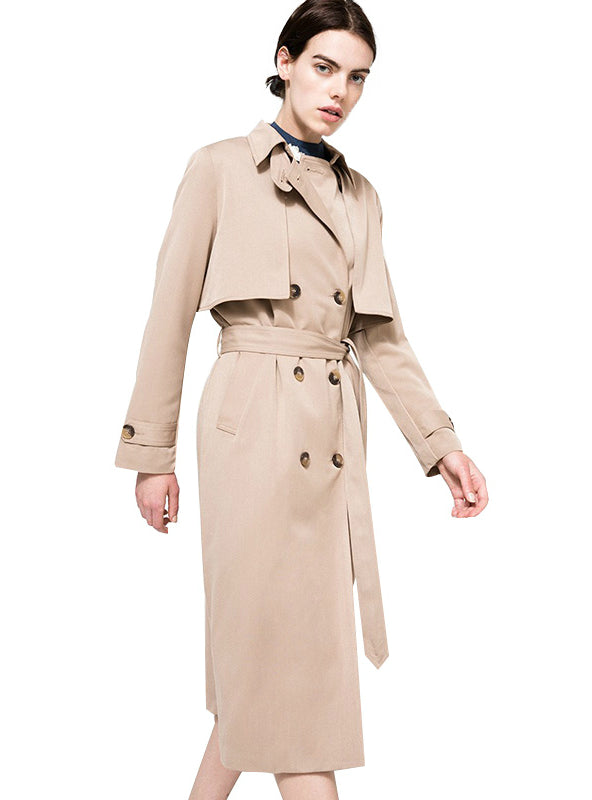 Khaki Women Street Casual Coats Turn Down