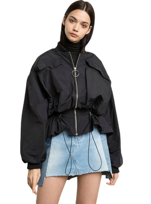 Black Jackets Belt Wait Elastic Ruffles Female Loose Outwears