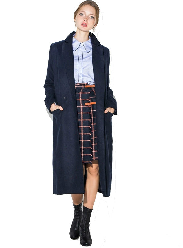 Winter Coat Wool Blended Women Turn down
