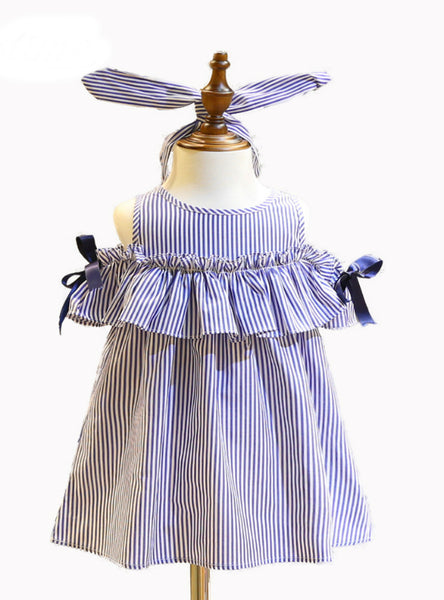 Blue Stripe Kids Ruffles Dress Headband Korean