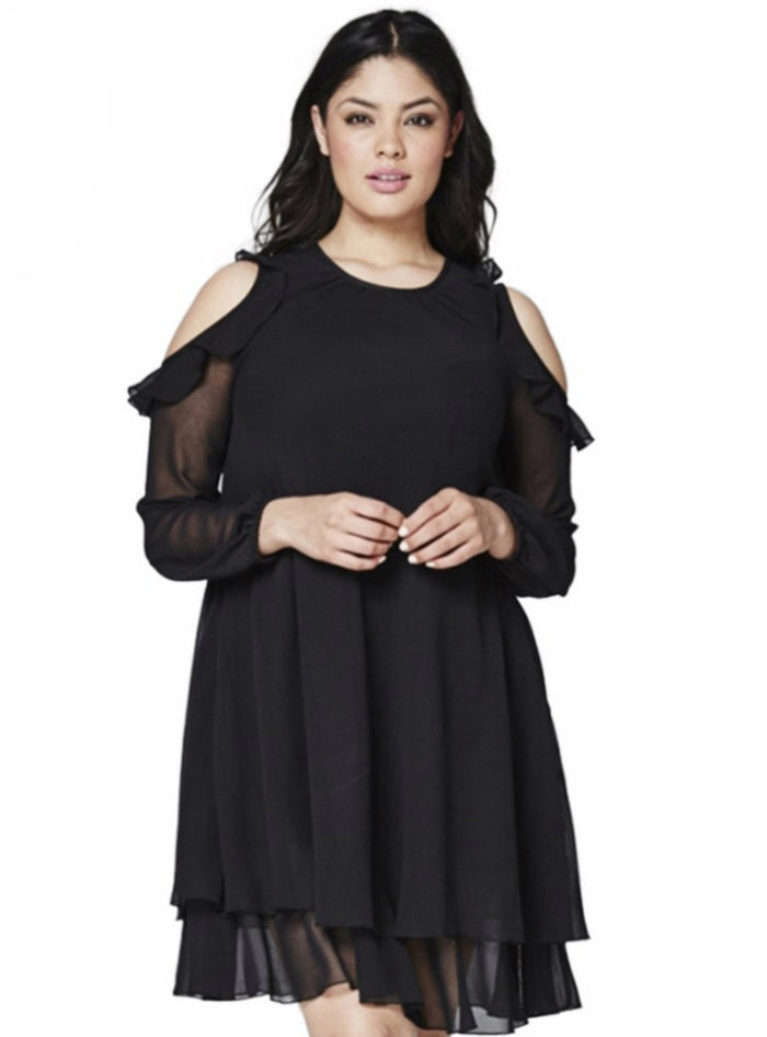 Basic Solid Dress Cold Shoulder Ruffle Chiffon