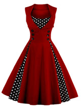Ladies Red A Line Women Dress Polka Party Evening