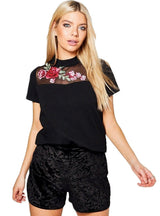 Floral Print Women T-shirt Lace Patchwork Short Sleeve