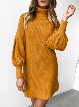 Warm Turtleneck Long Sleeve Knitted Evening Party Dresses