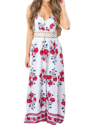Women Floral Print Dress Strappy Backless Maxi Dresses