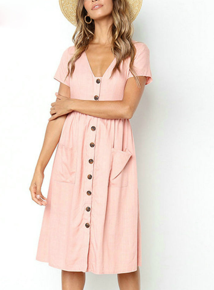 V Neck Short Sleeve Pink Midi Dresses Pocket