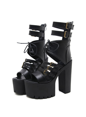 Buckle Lace up Ladies Summer Shoes High Heels