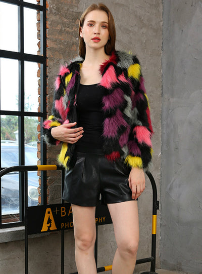 Women Fashion Short Fur Colorful Long Sleeve