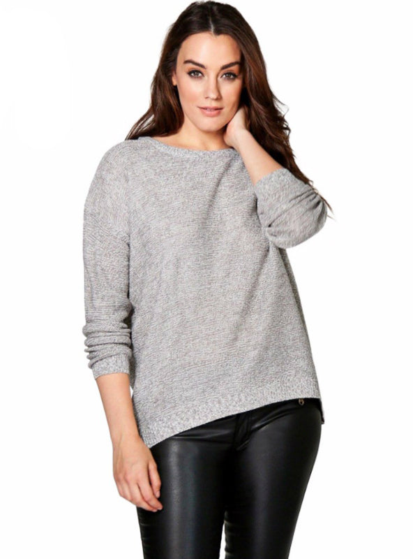 Casual Knitted Sweater Loose Pullover Warm Zipper