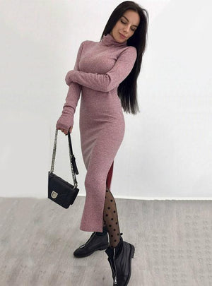 Long Sweater Dress Long Sleeve High Neck Slim Split
