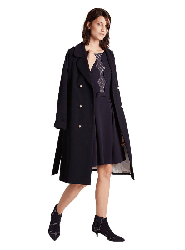 Women Coat Solid Blue Autumn Warm Chic
