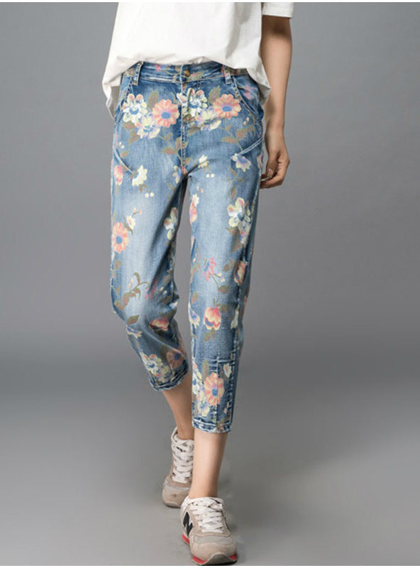 Print Color Painting Denim Jeans Loose Harem Pants
