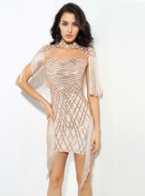 Gold High Collar Pattern Sequins Mesh Dress