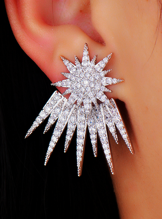 Rhodium Plated Star Shaped Stud Earrings