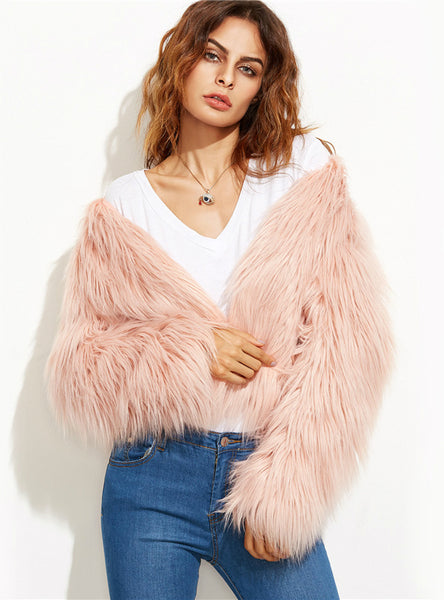 Faux Fur Pink Winter Coat Women Elegant Collarless