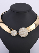 Crystal Rhinestone Two hemispheres Gold Collar