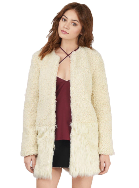 Faux Fur Casual Keep Warm Coats Buttons Patchwork