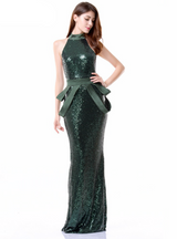 Green Sequined Strapless Maxi Dress Prom Dress