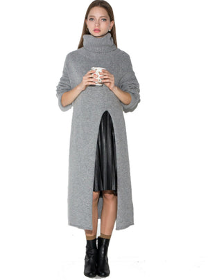 Long Sleeve Sweater Dress Autumn Warm Side Slit